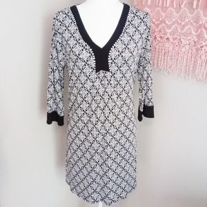 Ellen Tracy Black and White Print Dress